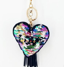 Lentejuelas reflectantes online-Lentejuelas de moda en forma de corazón AMOR llavero colgante de lentejuelas reflexivo colgante llavero del coche pequeño regalo accesorios de la joyería