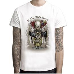 Wholesale Clown Custom - Wholesale-IT movie men summer T Shirt Men's stephen king printed Halloween pennywise it Custom High Quality clown Tops Tees male t-shirt