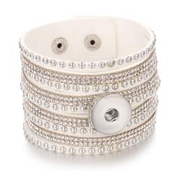 Mehrschichtigen Kristall Wrap Manschette Armbänder Femme Leder Charme Armband Weiblichen Armband Druckknopf Pulseras Mulher Schmuck 40 Cm Wrap-armbänder Schmuck & Zubehör