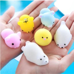 Wholesale Random Shopping - Squishy Simulation 30pcs Random Mix TPR Cute Lovely Cartoon Pendant Kawaii Food Squishy Super Kid Toy Decompression Toys DHL free Shopping