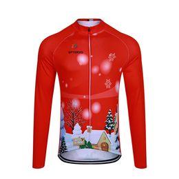 Manica lunga lunga della camicia da ciclismo online-Thermal Fleece Christmas maglia manica lunga da ciclismo Inverno / Primavera Tenere in caldo MTB bike shirts abbigliamento sportivo Rosso