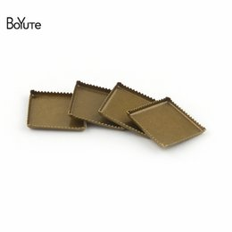 Wholesale Blank Jewelry Square - BoYuTe 100Pcs Square 8MM 10MM 12MM 15MM Cabochon Base Blank Tray Bezel Vintage Antique Bronze Diy Jewelry Accessories