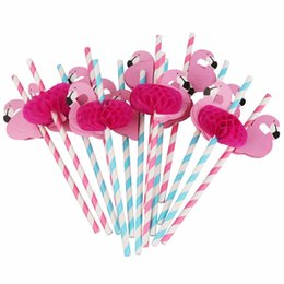 umweltfreundliches einweggeschirr Rabatt Umweltfreundlich 100pcs Flamingo Papierstrohe Trinkhalm-Hawaii-Partei-Dekor Einweggeschirr-Geburtstags-Party-Dekorationen für Kinder