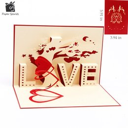 "Wholesale Post Craft - Wholesale- Heart & Tree laser cut origami paper 3D Pop UP Cards With ""LOVE"" Greeting Cards post cards Valentine's Day gifts arts and crafts"