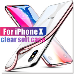 Wholesale wholesale iphone silicone gel case - For iPhone X 8 7 6 Case Ultra-Thin Shock Resistant Metal Electroplating Technology Soft Gel TPU Silicone Case Cover for S9 Note 8 Transparen
