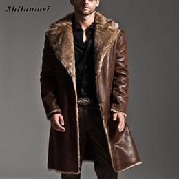 Wholesale Men S Leather Overcoat - New Fashion Men Winter Fur Leather Jacket Long Coats Both sides wear Thick Waterproof Reversible Men Overcoat Male Plus size 7XL