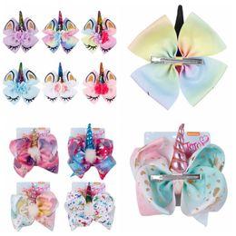 Wholesale cosplay bow - 8 Inch Unicorn Barrettes kids Bowknot Hairpins Girls Hairpins Hair Barrettes Cute Bow Hair Clip unicorn cosplay Accessories KKA5616