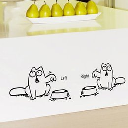 Wholesale Kids Car Wall Stickers - Left Right newest DIY FUNNY cat need food home decor wall sticker lovely kitchen pet store car decals for kids room