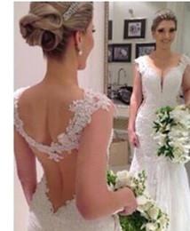 Vestido de novia sin espalda columna de la vaina sexy online-Vestido de novia de encaje sexy