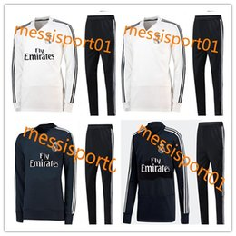 Wholesale new train sets - Real madrid tracksuit white black sweater set 2018-19 new soccer training Suit men Clothes Track suit TOP quality 2018-19 training suits
