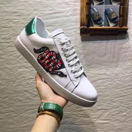 2019 tigre chaussures de marque Chaude Designer Marque Casual Chaussures Ace vert bleu rouge bande abeille tigre serpent unisexe sneaker pour hommes femmes grande taille 34-46 tigre chaussures de marque pas cher