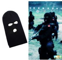 3 Delik Siyah Anti-terörizm Maskesi Örme Yüz Maskesi Balaclava Hat Kayak Ordu Stocking Kış Kap Beanie Hood cheap hood army nereden kaput ordusu tedarikçiler