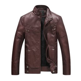 Wholesale Jaqueta Couro Masculino - Fashion Men Motorcycle Leather Jacket Stand Collar Zipper Faux Fur Pu Leather Coats Brand Male Jacket jaqueta de couro masculino