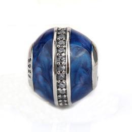 2019 gioielli di mezzanotte 925 Sterling Silver Midnight Blue smalto Clear CZ Crystal Beads misura Charms Bracciali fai da te Braccialetti Gioielli da donna gioielli di mezzanotte economici