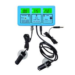 2019 medidor ph ph digital gratuito Medidores de PH portátiles LCD de calidad de agua del dispositivo de análisis EC CF TDS TEMP Medidor de alta precisión de múltiples parámetros en línea Monitor con ATC