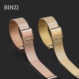 золотые сетки браслет смотреть Скидка Rose Gold MIlanese Stainless Steel Watchband 14mm Milan Mesh Gold Watch Band Bracelet Clasp Metal Strap Slim Watch Band New 2018