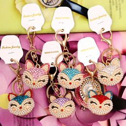 Wholesale Pearl Handbags - Artificial fox Keychain for Handbag Car Key Ring Cute Fox Inlay Simulated Pearl Pendant Key Chains Amazing