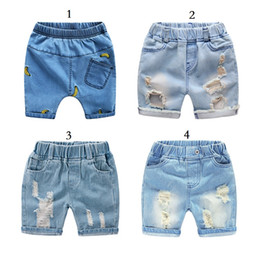 Wholesale boys elastic waist jeans - Vieeolove Baby Kids Boys Girls Jeans Beach Shorts Pants 2018 New Summer Fashion Sports Elastic Cotton Pants V0L-1172
