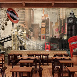 Wholesale Wall Paper Leather - big size wall picture for whole wall wallpapers england vintage view mural