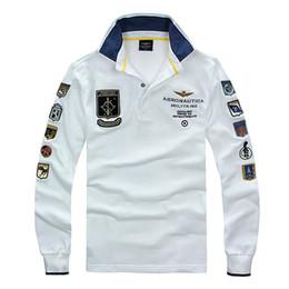96147ddd82 Nuevos modelos Aeronautica Militare Camisa Masculina Hombres manga larga T-Camisa  Air Force One Shark Solid T-Camisa aeronáutica baratos