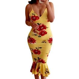 Argentina 2019 Summer Runway Amarillo Negro Vestidos Rosa Impreso Sexy Correa de espagueti Vestidos de cola de pescado Vestido de sirena a media pierna de las mujeres cheap yellow fishtail dress Suministro