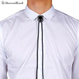 "Wholesale Leather Necklaces For Men Chokers - whole saleReal Leather Bolo Tie Choker Necklace Oval Gunmetal Black Acrylic For Man Woman 50cm(19 5 8""), 1 Piece"