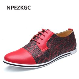 Wholesale Beading Jeans - NPEZKGC Business Men Casual Shoes Handmade Breathable Comfortable Jeans Brand Men Shoes Leather Flat Oxfords Formal