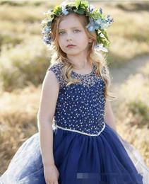 marineblaue brautkleider für kinder Rabatt Süße Marineblau Perlen Mädchen Festzug Kleid Pailletten bodenlangen 2019 Mädchen Kommunion Kleid Kids Formal Wear Blumenmädchenkleider für die Hochzeit