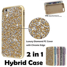 Wholesale Premium Diamonds - Diamond Hybrid Case Aluminum Premium Bling 2 in 1 Luxury Glitter Case Cover Shell For Iphone X 5 6 6s 7 8 Plus Samsung Galaxy S8 Plus