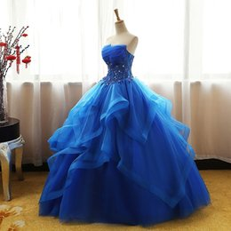 Wholesale girls strapless pageant dress - Blue Quinceanera Dresses Ball Gown Corset Crystals Beads Ruffles Tulle Lace Up Back Girls Pageant Gowns Strapless Cheap Prom Dress