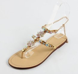 Wholesale light brown heels - 2016 summer new Rhinestone Beaded T-Tied flat sandals thong sandals Bohemian fashion Shoes