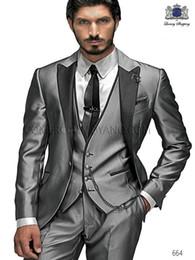 Wholesale Silver Shiny Suit - 2018 Custom Made Groom Tuxedos Shiny Silver Suit Peaked Lapel Best man Groomsman Men Wedding Prom Suits Bridegroom Jacket+Pant+Vest+Tie