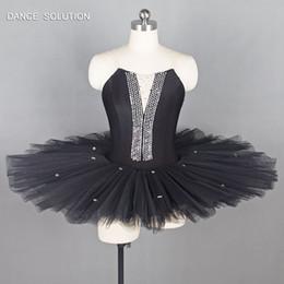 trajes de bailarina adultos Desconto Preto Pré-Profissional de Dança Ballet Traje Panqueca Tutu para Adulto Bailarina Ensaio Ballet Tutus BLL004