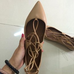 Wholesale real leather ballet flats - New 2018 Mujer Real Pics Lady Shoes Criss Cross Strappy Flats Leather Spring Single Shoes Pointed toe Sexy Ballet Shoes Feminino