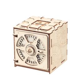 cajas de almacenamiento de juguetes para niños Rebajas Bloques Rompecabezas Caja de almacenamiento de madera Ahorro Caja de dinero Diseño de código Mecánico Unidad de montaje DIY Artesanía Niños Juguetes educativos Bloques de construcción