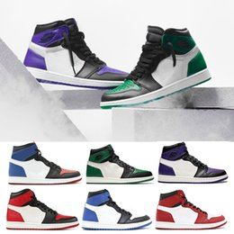 c741567c1d74f8 New OG 1 Pine Green Court Purple basketball shoes for men women sports shoe  Chameleon Black Toe City Of Flight Mens Designer sneakers