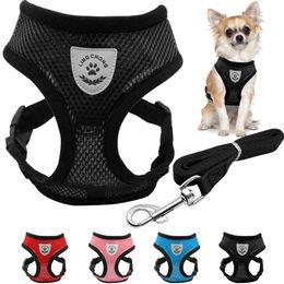Manga transpirable perro pequeño arnés de mascotas y conjunto de leash Chaleco cachorro rosa rojo azul negro para Chihuahua desde fabricantes