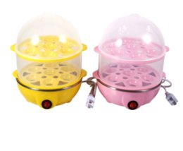 Wholesale boiler electric - 220v Double Layer Electric 14 Egg Boiler Egg Cooker Steamer Pan Kitchen Cooking Tools Utensil 350w Yellow Pink