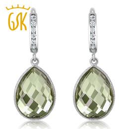 серьги из аметиста из стерлингового серебра Скидка GemStoneKing Pear Shape Gorgeous Green Natural Amethyst Women's Earrings Solid 925 Sterling Silver Gemstone Dangle Earrings