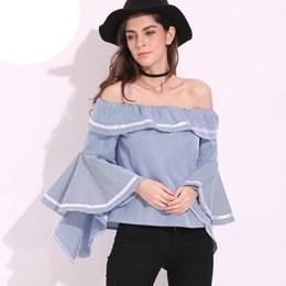 Wholesale womens ruffled shirts - 2018 Hot Womens Slash Neck Butterfly Sleeve Club Tops Flouncing Ruffled Off Shoulder Casual Party Shirt Blouse S-5XL