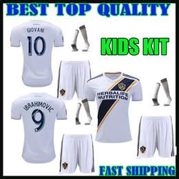 Wholesale Ivory Jones - 2018 LA Galaxy Soccer jersey kids kit IBRAHIMOVIC 18 19 Los Angeles KEANE GERRARD GIOVANI ZARDES ROGERS JONES LA galaxy boy football shirts