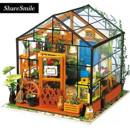 2019 große plastikpuppen 3D dreidimensionales Puzzlespiel, kreatives Geschenk des DIY Häuschenmodells sonniger Garten, Holzhausspielwaren für Kinderblumenhaus