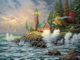 Wholesale modern art mirrors - Thomas Kinkade Landscape The Lighthouse,Oil Painting Reproduction High Quality Giclee Print on Canvas Modern Home Art Decor