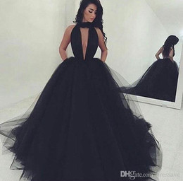 Wholesale Deep V Neck Pageant Dress - 2018 Sexy Black Sleeveless Back Out Evening Gowns Deep V-neck Backless Long Ball Gown Black Pageant Prom Dress