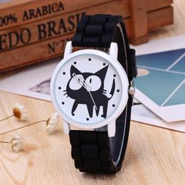 relógios baratos baratos Desconto Relógios das crianças da marca New Black Cat Padrão Silicone Assista Alta Qualidade Simples Moda Personalidade Barato Relógio de Pulso ZC337 Atacado