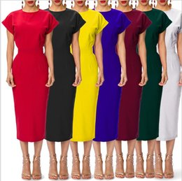 Wholesale Mid Wholesale Bodycon Dresses - Elegant Women Party Dresses O-Neck Short Sleeve Bodycon Dress Fashion Slim Solid Dress Women Casual Party summer dress LJJK861