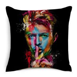 música de cojín Rebajas David Bowie Fundas de cojines Rock and Roll Music Star Fundas de cojines de algodón de lino funda de almohada para sofá Asiento