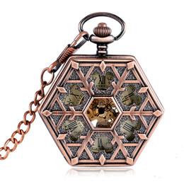 Wholesale rose pocket watch - Rose Copper Hollow Sexangle Mechanical Pocket Watch Roman Numerals Snow Lattice Window Pattern Pendant Watch Chain Vintage MP100