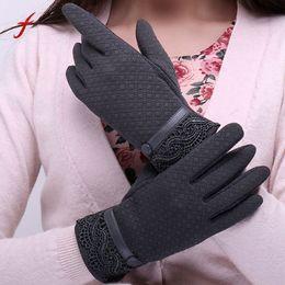 Guantes de cachemira para mujer online-Moda para mujer guantes elegantes 2017 guantes de teléfono táctil invierno pantalla deporte mitones cálidos cachemira muñeca femenina