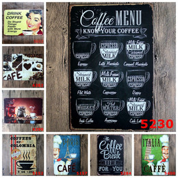 Wholesale cafe wall art - 30cm CAFE MENU Vintage Retro Metal Sign Poster Plaque canteen Bar Pub caffee Club Wall Home Decor art metal Painting FFA603 12pcs